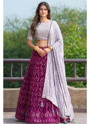 Purple Color Georgette Thread Work Lehenga