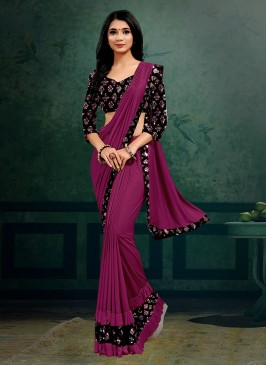 Purple Color Lyrca Fancy Saree