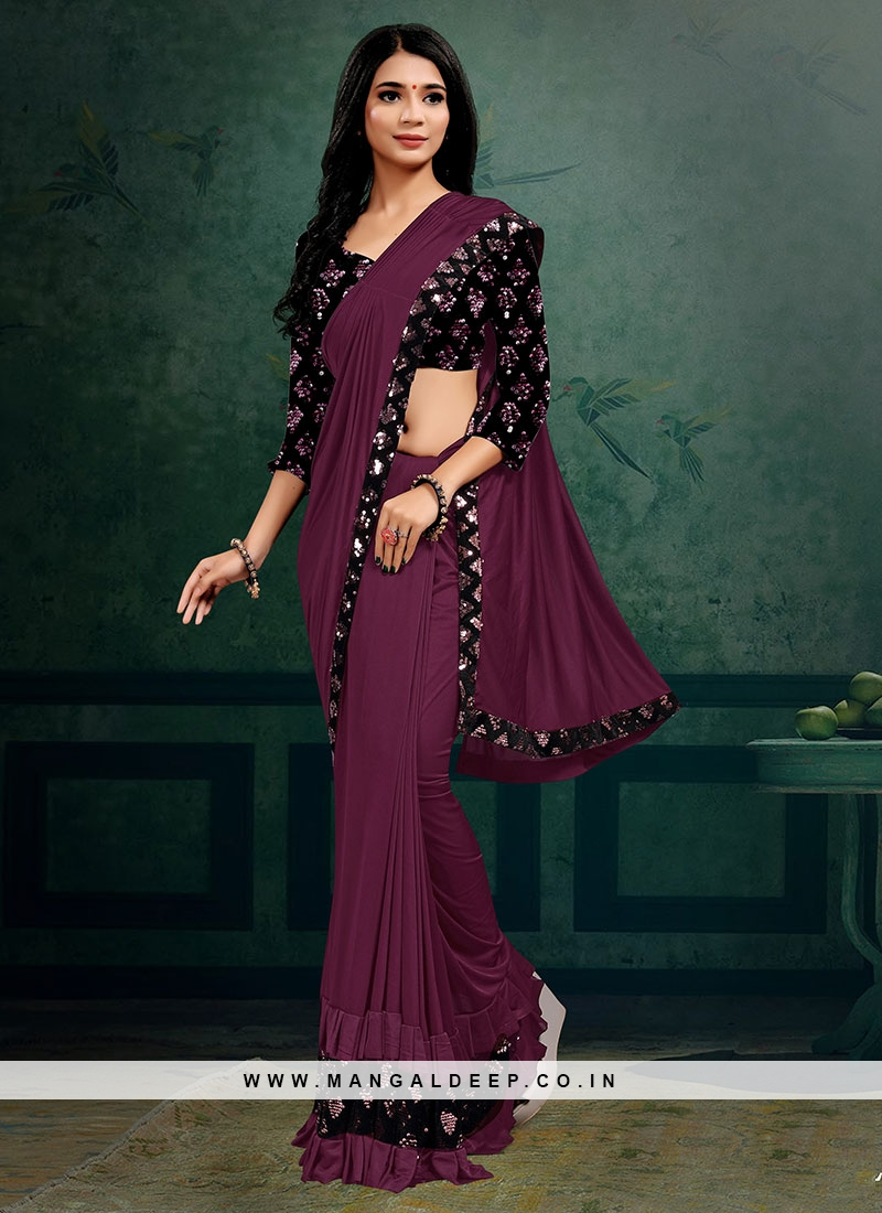 Purple Color Lyrca Gorgeous Saree