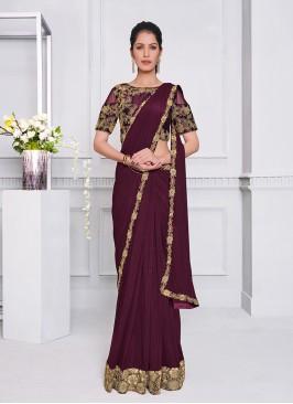 Purple Color Lyrca Net Saree