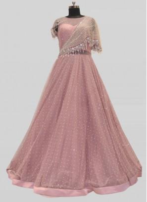 Purple Color Net Daimond Gown For Bride