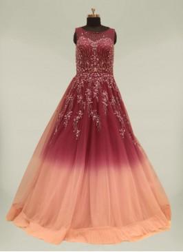 Purple Color Net Sequins Work Simple Gown