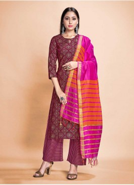 Purple Color Rayon Readymade Dress