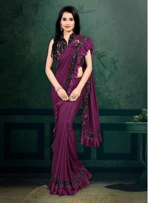 Purple Color Ready To Wear Saree
