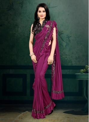 Purple Color Ruffle Border Ready Pallu Saree