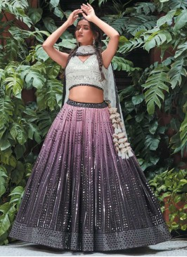Purple Color Sequins Work Georgette Lehenga