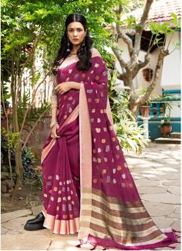 Purple Color Silk Classic Saree