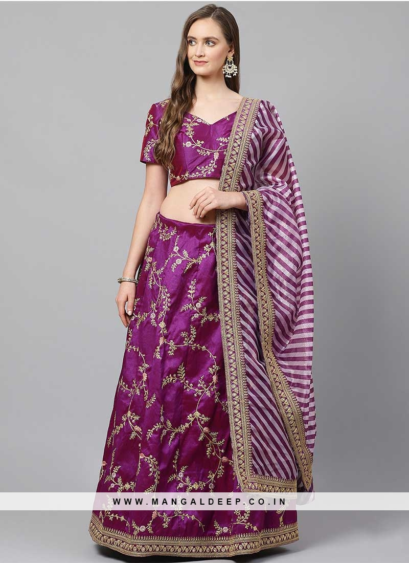 Purple Color Silk Emboirdered Festive Wear Lehenga