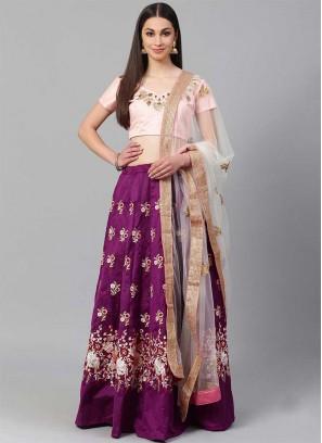 Purple Color Silk Embroidered Engagement Wear Lehenga