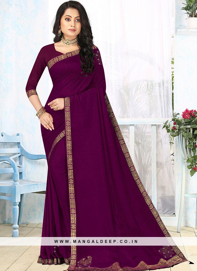 Purple Color Silk Fancy Saree