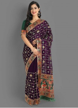 Purple Color Silk Gharcholu Saree