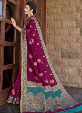 Purple Color Silk Latest Design Saree