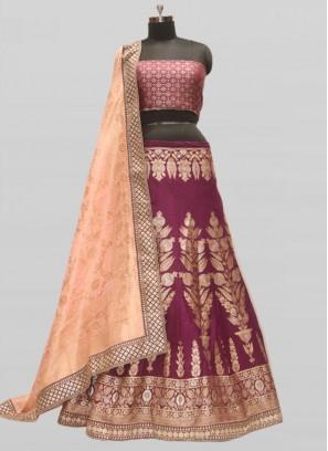Purple Color Silk Lehenga For Women
