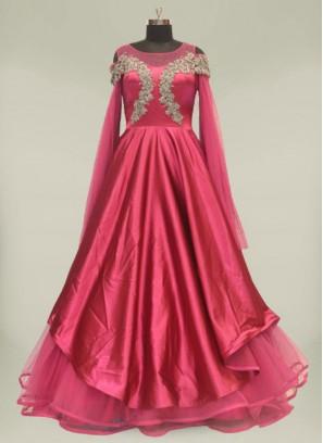 Purple Color Silk Marriage Reception Dress