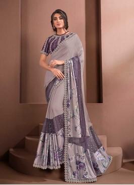 Purple Color Silk Readymade Saree Blouse
