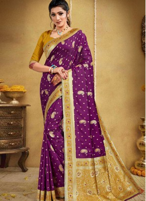 Purple Color Silk Saree For Ladies