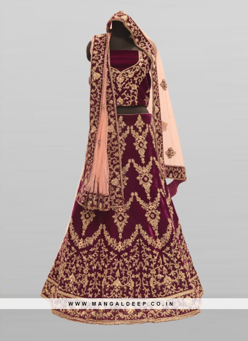 Purple Color Velvet Lehenga For Bride
