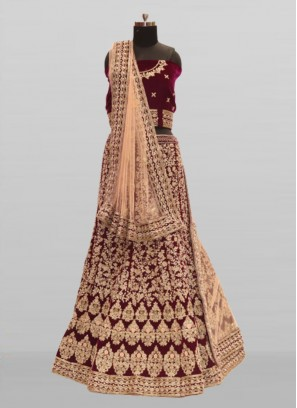 Purple Color Velvet Zardosi Work Bride Lehenga