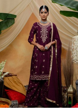 Purple Color Zari Work Latest Salwar Suit