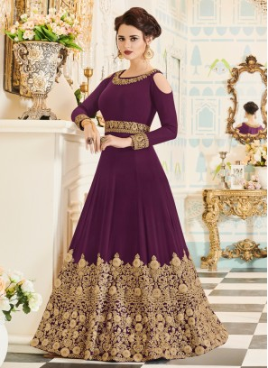 Purple Embroidered Anarkali Suit