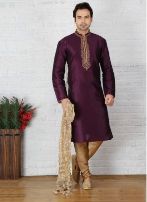 Purple Kurta Pajama For Sangeet Function