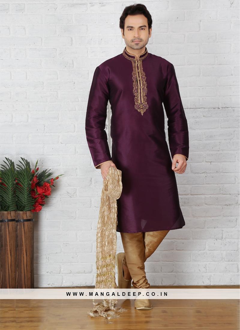 Purple Kurta Pajama For Sangeet Function