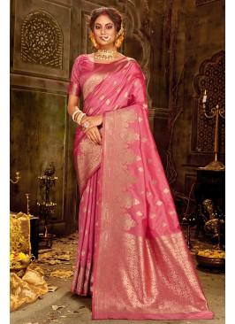 Ragal Pink Silk Party Wear Saree