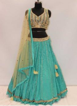 Rama Green And Cream Color Georgette Latest Design