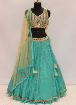 Rama Green And Cream Color Georgette Latest Design Lehenga