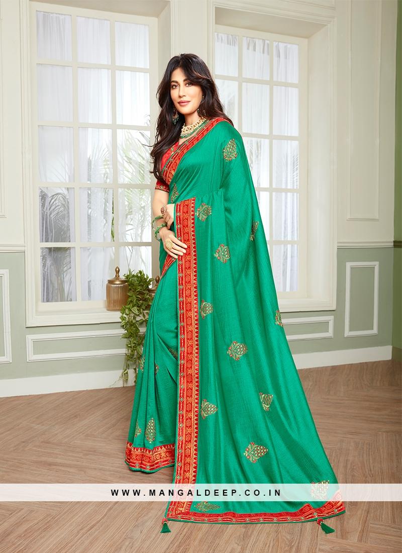 Rama Green Color Classic Saree