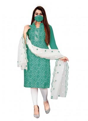 Rama Green Color Cotton Bandhni Salwar Kameez