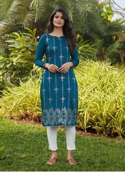 Rama Green Color Cotton Silk Kurti