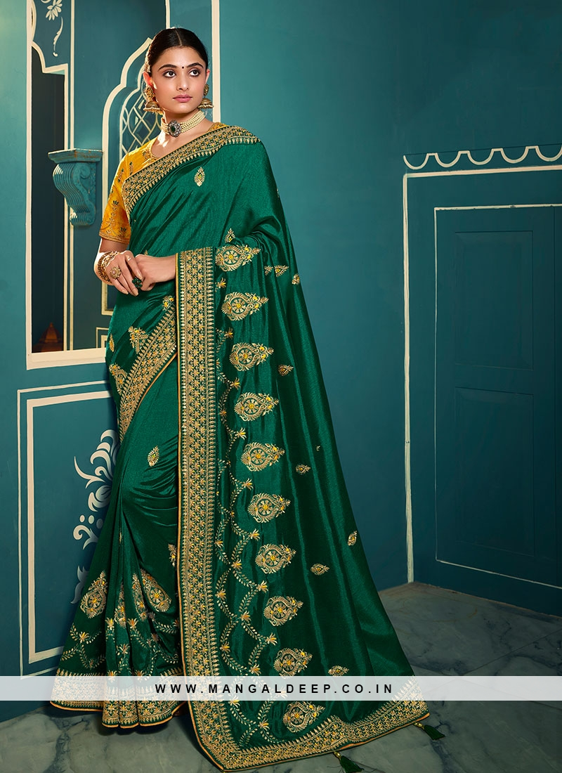 Rama Green Color Embroidered Fancy saree