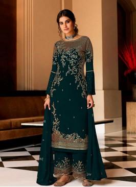Rama Green Color Georgette Pakistani Dress