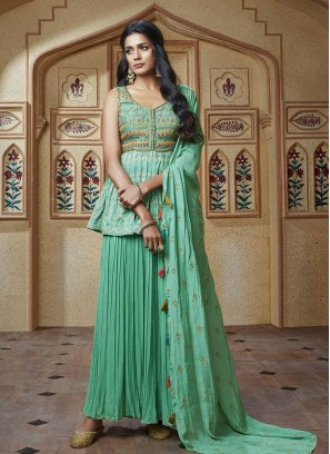 Rama Green Color Georgette Sharara Suit