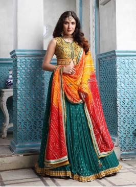 Rama Green Color Lehenga With Bandhni Dupatta