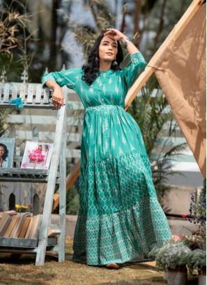 Rama Green Color Printed Fancy Kurti