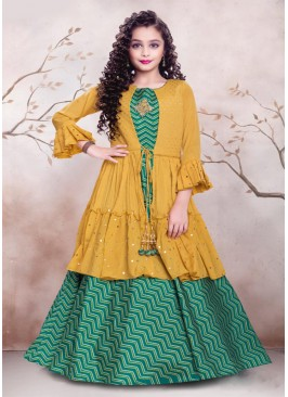 Rama Green Color Satin Girls Gown