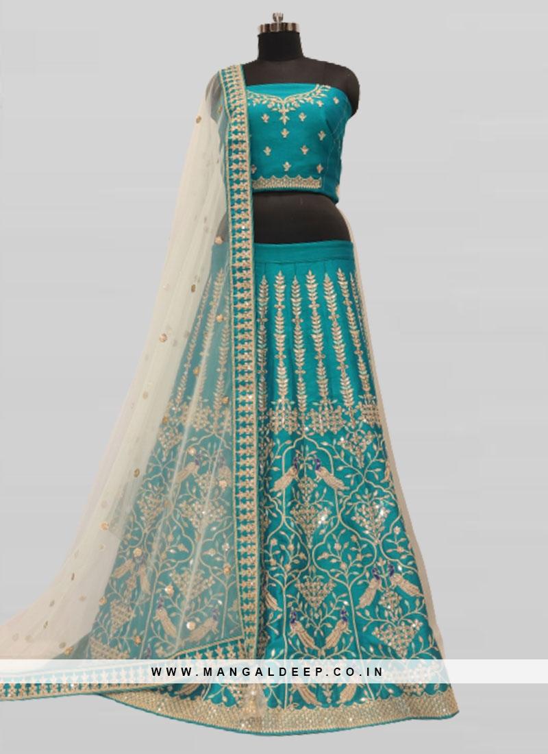 Rama Green Color Silk Wedding Lehenga For Bride