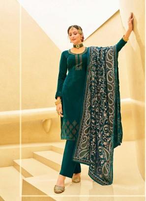 Rama Green Color Velvet Salwar Suit