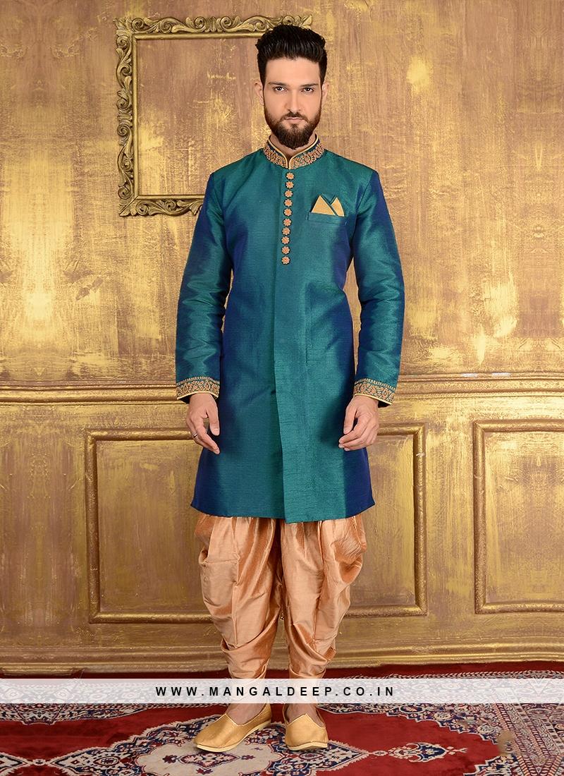 Rama Green Designer Men's Panjabi Style Indo Western