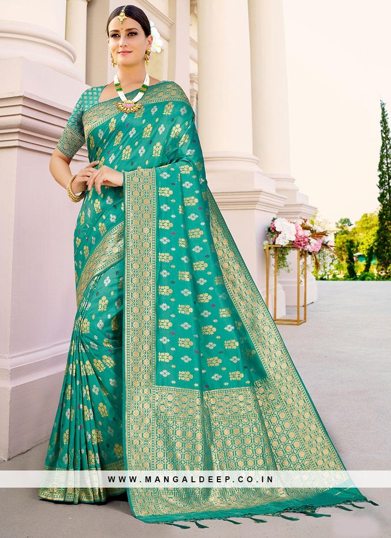 Rama Green Saree In Silk