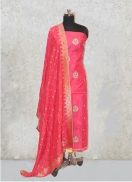 Rani Pink Chanderi Silk Hand Work Salwar Kameez