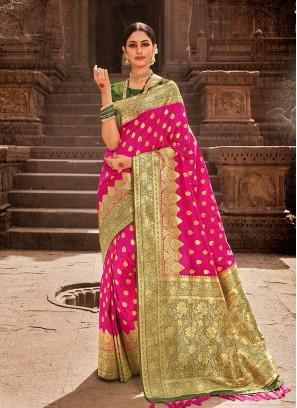 Rani Pink Color Banarasi Saree