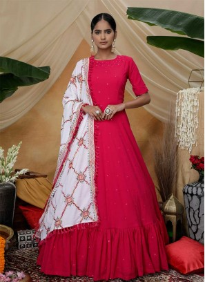 Rani Pink Color Georgette Long Gown