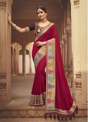 Rani Pink Color Silk Traditional Party Wear Sarees