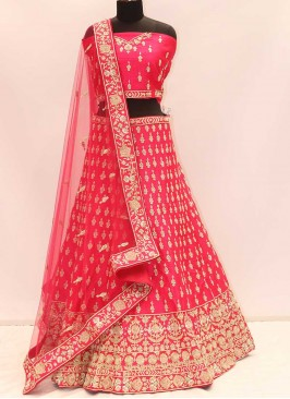 Rani Pink Color Silk Zardosi Work Lehenga