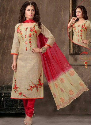 Readymade Beige Embroidered Silk Churidar Suit