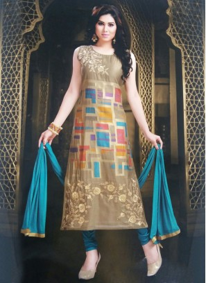 Readymade Brown Silk Churidar Suit