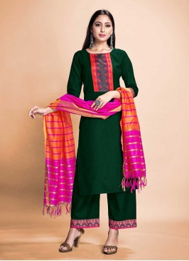 Readymade Green Color Rayon Suit